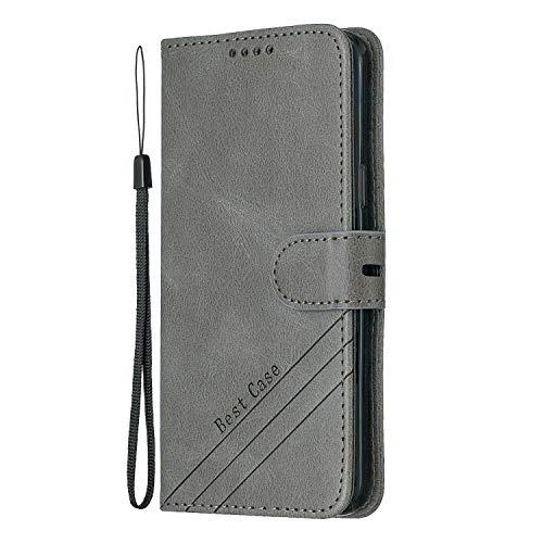 Docrax Galaxy S9 Handyhülle, Hülle Leder Case mit Standfunktion Magnetverschluss Flipcase Klapphülle kompatibel mit Samsung Galaxy S9/G960F - DOHEX120232 Grau