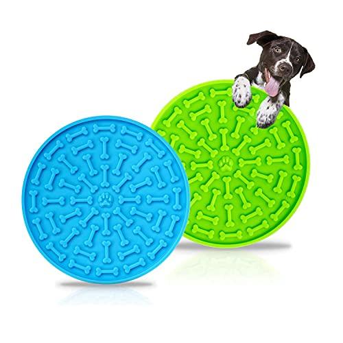 Hopeas 2 Unidades Almohadilla para Lamer de Perros Comedero Lento Silicona Alfombrilla de alimentación Lenta para Mascotas