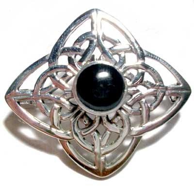 Celtic Silver Black Onyx Stone Set Brooch