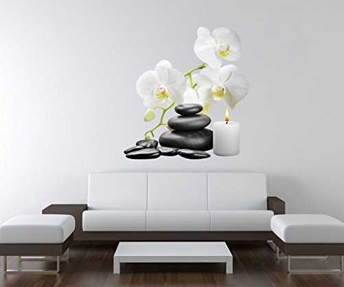 3D Wandtattoo Wellness Kerze Orchidee Steine Wand Aufkleber Deko Wandbild Wandsticker A3D86, Motiv Breite:97cm
