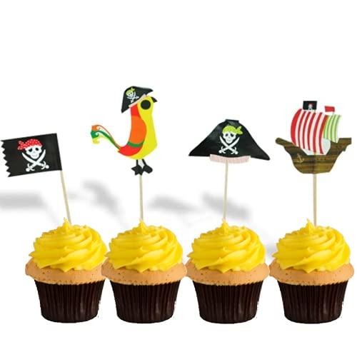 Pirata, cumpleaños infantil, decoración para tarta de pirata, decoración de pirata del Caribe, decoración de cumpleaños de Pirata, pirata, caza del tesoro infantil, palo de cupcake (lote de 24)