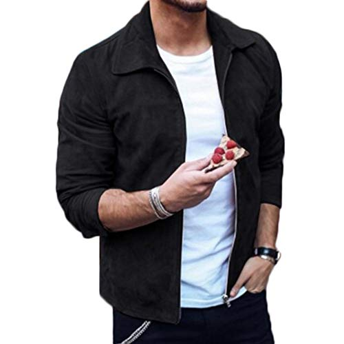 Mens Casual Faux Suede Jacket Plain Long Sleeve Coat Lapel Collar Full Zip Outwear Outfit (Black, M)