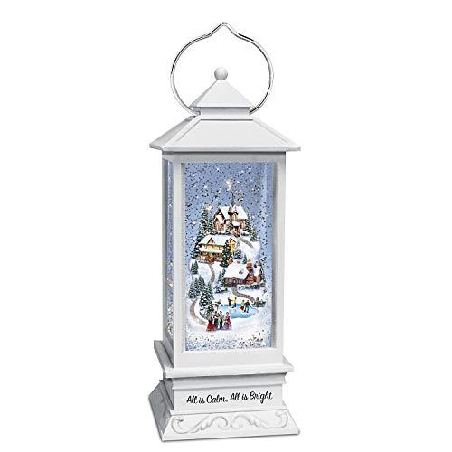 The Bradford Exchange Thomas Kinkade All is Calm, All is Bright Musical Snowglobe Lantern