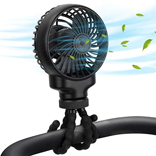 Mini Stroller Fan Clip On, Portable Rechargeable Handheld Personal Fan with Flexible Tripods, Small Desk Fans USB or Battery Powered Travel Powerful Quiet Fan for Baby, Treadmill, Carseat, Room, Gym