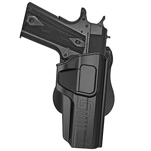 1911 Holster, OWB Paddle Holster for Colt 1911 5'', S&W 1911, Taurus PT1911, Remington 1911 R1, Ruger SR1911, Girsan 1911 MC, Open Belt Carry Tactical Gun Holster, 360° Adjustable - Right Handed