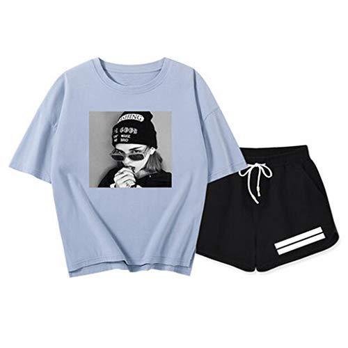 Dameskleding Zomer 2019 nieuwe vrouwen wild casual pak tij schat blauw super vuur cec korte mouwen vrouwen katoen print T-shirt