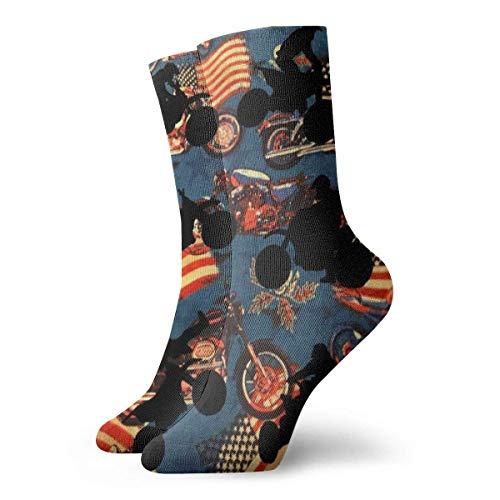 Calcetines Deportivos,Fútbol Medias Bajas,Crew Socks,Calcetines Para Hombre Y Mujer,Calcetines De Tubo Medio,Quarter Calcetín,Calcetines Cortos Para Adultos Con Bandera Americana Y Motocicleta
