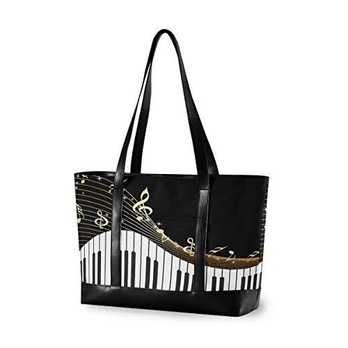 Hunihuni, borsa a tracolla per laptop, tastiera pianoforte, note musicali, da donna, grande capacità, in tela, adatta per viaggi, scuola, uso quotidiano