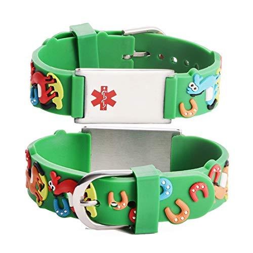 Linnalove - Pulseras de alerta médica, regalo para padres, hija, hermano, hermana, caballo 6.5 inches