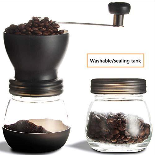 N / A Manuelle Kaffeemühle Keramikmahlwerk Espressomühle Präzise Mahlgrad-Settings Tragbare Kaffee Mühle - mit zusätzlichem Vorratsglas (Schwarz)