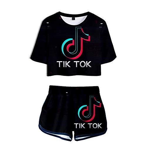 HGUIAZ TIK TOK Imprimiendo Camisetas Y Pantalones Cortos, Ropa Corta, Traje De Dos Piezas para Niñas Y Mujeres Ropa Deportiva,Black-F-S