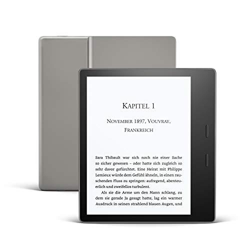 Kindle Oasis, Leselicht mit verstellbarer Farbtemperatur, wasserfest, 32 GB, WLAN, gratis Mobilfunkverbindung + WLAN, Grafit