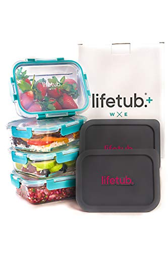 lifetub+ - Set of 4X Large Reusable High Borosilicate Glass Containers - Leak-Proof Covers, Silicone ReHeat Lids - Perfect Meal Prep, Food Storage, Travel - Microwave, Oven, Freezer, Dishwasher-Safe