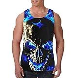 YongColer Men's Boys Skull Head Blue Fire Sleeveless Vest T-Shirts Summer Jersey Tank Tops Regular-Fit Vest Golf Riding Fast Dry SweatproofDaily Wear - 3D Printing