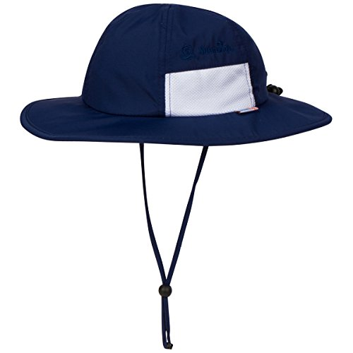 SwimZip Unisex Child Wide Brim Sun Protection Hat UPF 50+ Adjustable | Navy 8-14