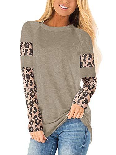 CNFIO Camisetas Mujer Manga Larga Leopardo Raya Cuello Redondo Blusas para Mujer Suelta Tops Mujer Fiesta F-Beige XXL