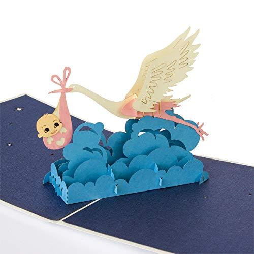 """Karte zur Geburt """"Storch mit Baby"""" - hochwertig verarbeitet - super detailreich und lebendig - Glückwunschkarte zur Geburt, für Mädchen und Jungen - Mit Umschlag und Folie zum sofort Verschenken!"""