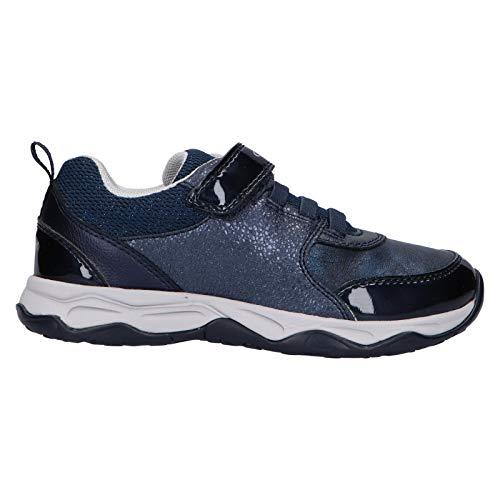 Geox Mädchen Sneaker CALCO Girl, Kinder Low-Top Sneaker,lose Einlage, Halbschuh sportschuh Klett-Verschluss Kinder,BLAU,32 EU / 13 UK Child