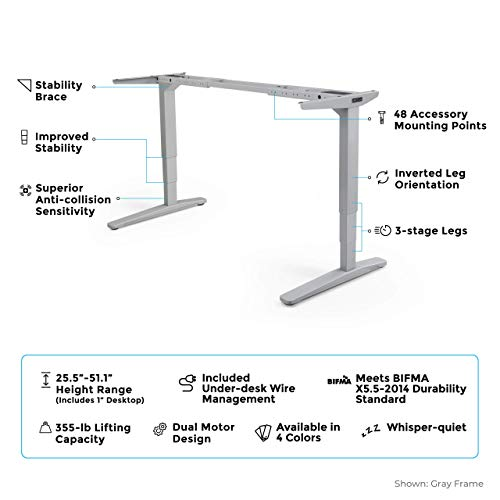 UPLIFT Desk - V2 2-Leg Height Adjustable Standing Desk Frame (Black) with Advanced 1-Touch Digital Memory Keypad