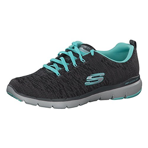 Skechers Women's Flex Appeal 3.0 Trainers, Grau (Charcoal Knit Mesh/Lt Blue & White Trim Cclb), 38