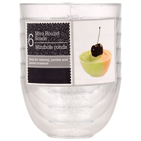 Clear Mini Disposable or Reusable Plastic Bowls for Dips, Desserts, Appetizers, Ice Cream, Truffle, or Candy (6-ct. Packs)