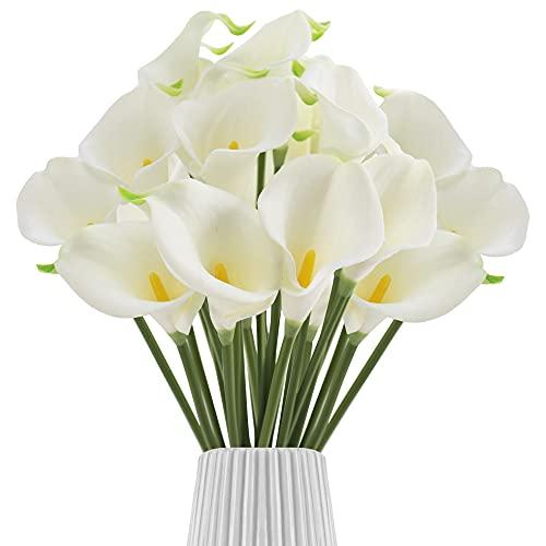 30 unidades de flores artificiales de cala, ramo de flores artificiales de tacto real, para bodas, decoración de cocina, hogar y cocina (blanco + verde encaje