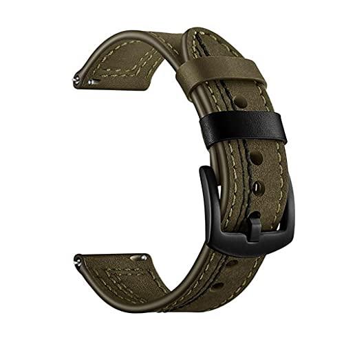 SSMDYLYM Reloj Band 22mm Reemplazo de Correa de Reloj de Cuero Genuino for Ver la Correa for Hombre (Color : Green)