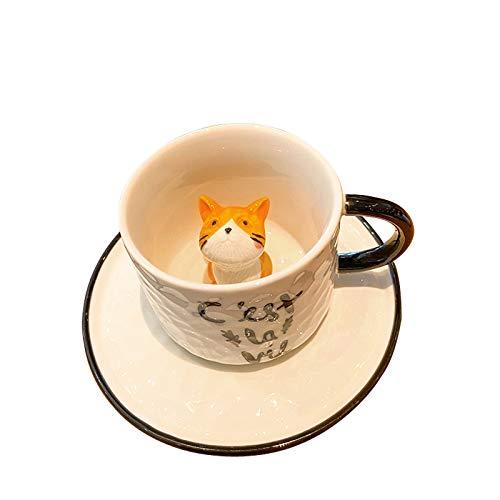 ZCRFYY Katze in Tasse Kaffeetasse und Untertasse Trinkgläser Kaffeeglas Latte Macchiato Glaser Set (Volle Kapazität) 220ml,Style 4