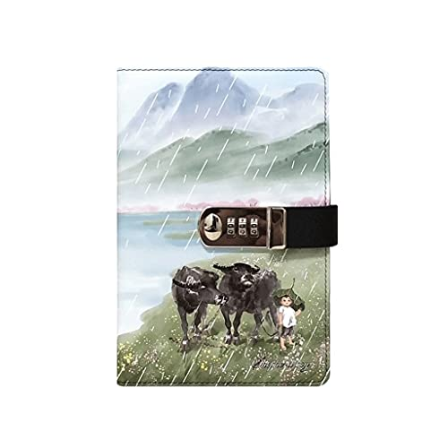 Cuaderno de contraseñas con bloqueo para diario de notas con cuaderno grueso retro de mano para escribir diario de viaje para hombre y mujer niños y niñas (color: ganado)