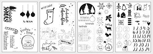 Rayher 67314000 5x DIN A4 Transferpapier mit Vorlagen Weihnachten, zum Übertragen von Motiven