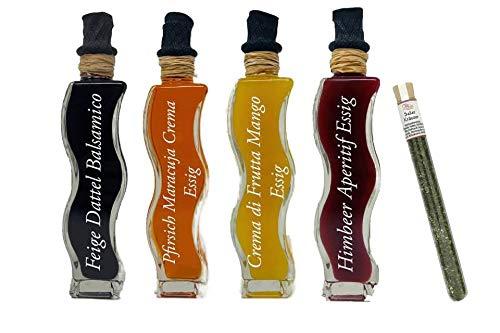 Wajos Feinkost Essig Set – Probierset – Geschenkset – 4x100 ml in der tollen Wellenflasche & Oliv & Co. Salatkräutergewürz