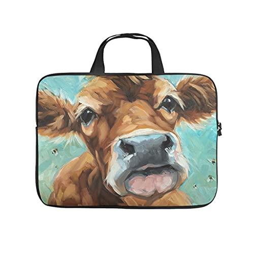 Facbalaign Funda para portátil con asa, diseño de vaca