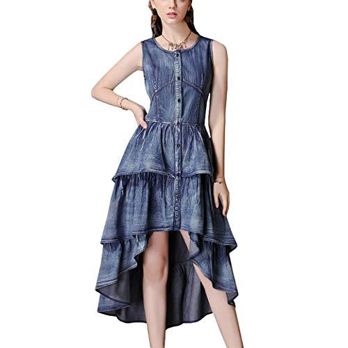 E-girl Damen Retro Irregulär Jeanskleid Ohne Arm Kleid,DA82152,Blau,L