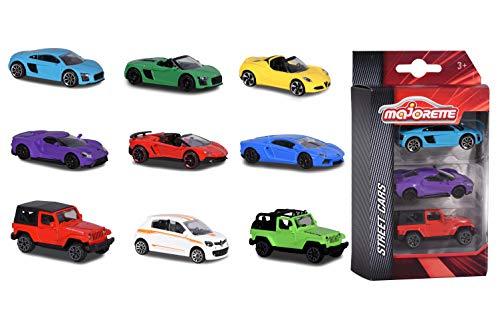 Majorette 212052270 3er Set Spielzeugautos, Miniaturfahrzeuge, Spielzeugauto aus Metall, 3 versch. Sets, Lieferung: 1 x 3er Set, zufällige Auswahl, 7,5 cm, mehrfarbig
