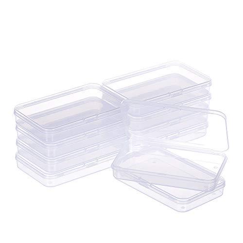 BENECREAT 10 Pack Caja de Plástico Contenedores de Almacenamiento 13x8.5x2cm Transparente con Tapas Abatibles para Pastillas Hierbas Cuentas Pequeñas Tarjetas