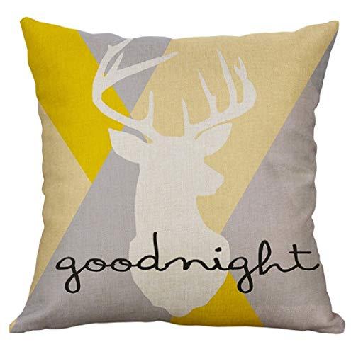 Lonupazz Square Cushion Cover Linen Creative Pillow Case Yellow Sofa Car Home Decor 40 x 40 cm, Cotton mix, d, 45_x_45_cm