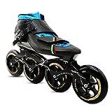 CNMJI Patines Línea Ajustables para niños y Adolescentes Mujer y Hombre Zapatos de Skate Inline Skates/Rollerblade Zapatos de Patinaje de Velocidad,Negro,32