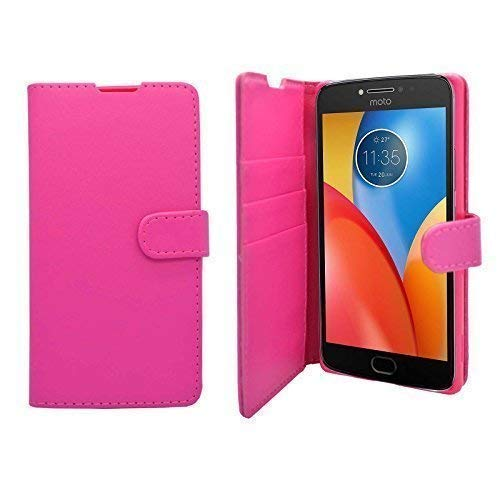 Brieftasche Buch Flip PU Leder Schutzhülle in Rosa für Motorola E4 Plus