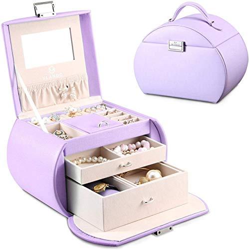 Caja Joyero ,Portátil Joyero Viaje Cajas para Joyas Jewelry Organizer para Mujer, para Anillos, Aretes, Pendientes, Pulseras y Collares