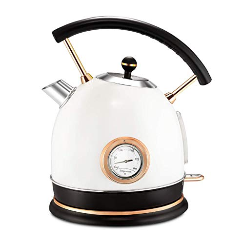 Pukomc 1.8L Electric Water Kettle with Thermometer, Hot Water Boiler & Tea Heater with Curved Handle, Visible Water Level Line, Led Light, Auto Shut-Off&Boil-Dry Protection