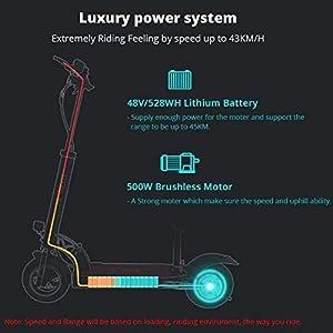 HOMMINI KUGOO M4 Monopattino Elettrico per Adulto, Aggiornato Scooter Elettrico Pieghevole con Sedile, Scooter Elettrico Autonomia 45KM, Motore 500W, velocità Massima Fino a 43km/h