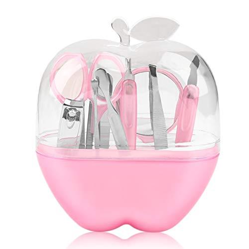 Forme de pommes 9pcs ensemble de manucure en acier inoxydable ciseaux à ongles outil de maquillage cosmétique pour produit de soin des ongles de voyage (rose)(JIO-F)