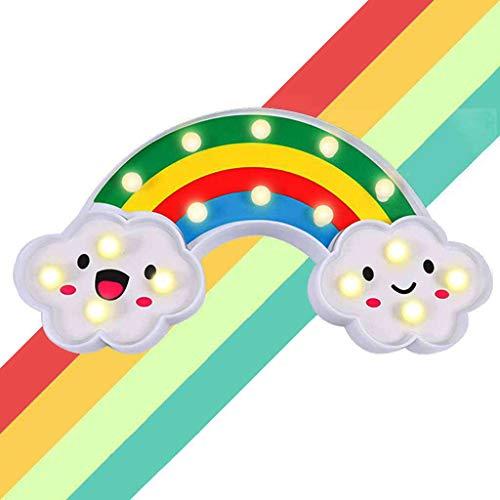 XIYUNTE Linda luz de noche con arco iris LED Letra en forma de arco iris Luces de noche Batería de marquesina Signo Decoración de habitación Niños Lámparas de mesa Decoración de dormitorio