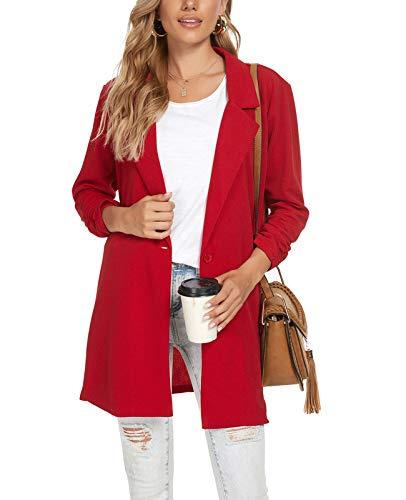 MINTLIMIT Damen Elegant Langarm Blazer Revers Geschäft Büro Jacke Anzüge Bolero (Rot, S)
