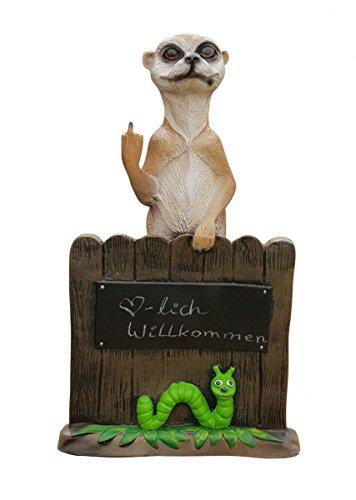 Fachhandel Plus Dekofigur Erdmännchen zeigt Stinkefinger am Gartenzaun mit Tafel zum Beschriften lustige Deko Tierfigur