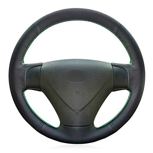JIRENSHU Cubierta del Volante del Coche de Cuero Negro, para Kia Rio Rio5 Hyundai Getz (Facelift) 2005-2011 Acento 2006-2011