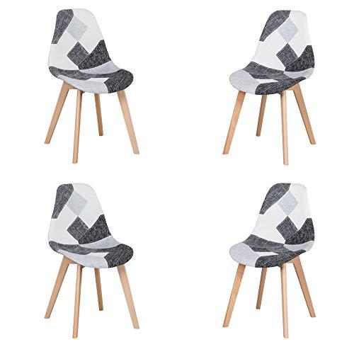 Lot de 4 Chaise,chaises Patchwork Design rétro,chaises de Salle à Manger rembourrées avec Pieds en hêtre,Convient pour Salle à Manger, Restaurant, Salon(Gris Noir et Blanc)
