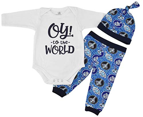 Unique Baby Boys Oy! to The World Hanukkah Layette Outfit Cap (12 Months) Blue