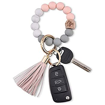Wristlet Keychain Key Ring Bracelet  Silicone Beaded Wrist Cute Keychains for Women  Pink