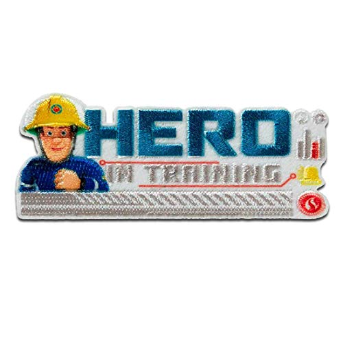 Feuerwehrmann Sam © Sam Hero in Training - Aufnäher, Bügelbild, Aufbügler, Applikationen, Patches, Flicken, zum aufbügeln, Größe: 3 x 7,2 cm
